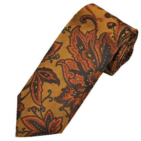 orange patterned ties profuomo gold orange navy flower patterned silk men s