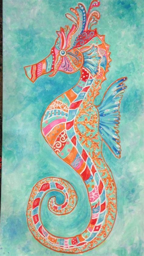 colorful seahorse colorful bright seahorse painting large 18 x 48 inches