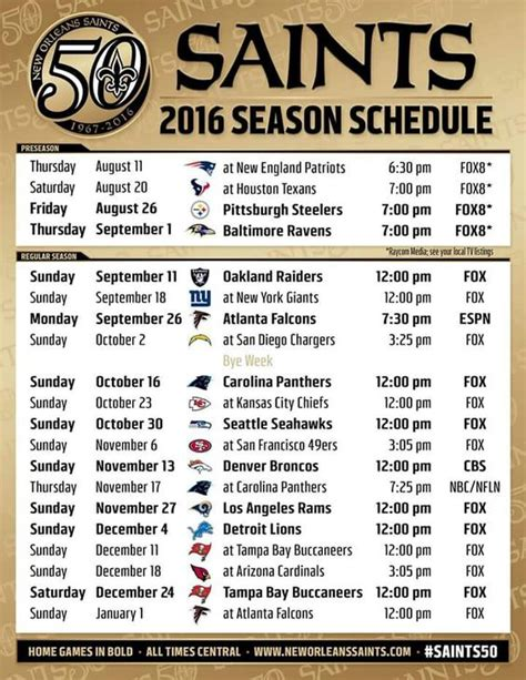 printable saints schedule 2015 2016 new orleans saints nfl football schedule my new