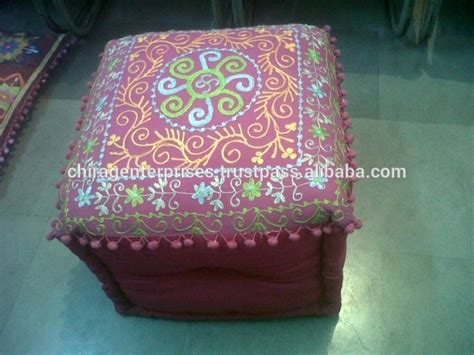 living room pouf embroidered fabric gold large indian fabric indian ottomans poufs footstools vintage fabric