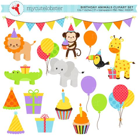 Baby animal clipart birthday pencil and in color baby animal clipart birthday