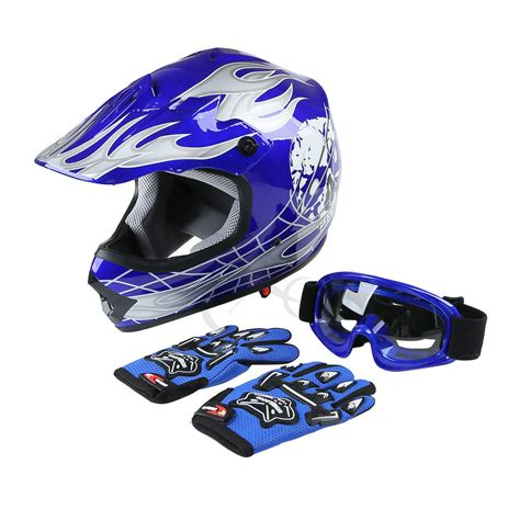 motocross helmets with goggles dot youth kids blue skull dirt bike atv helmet motocross