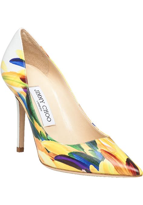 colored shoo jimmy choo abel multi colored feather print leather
