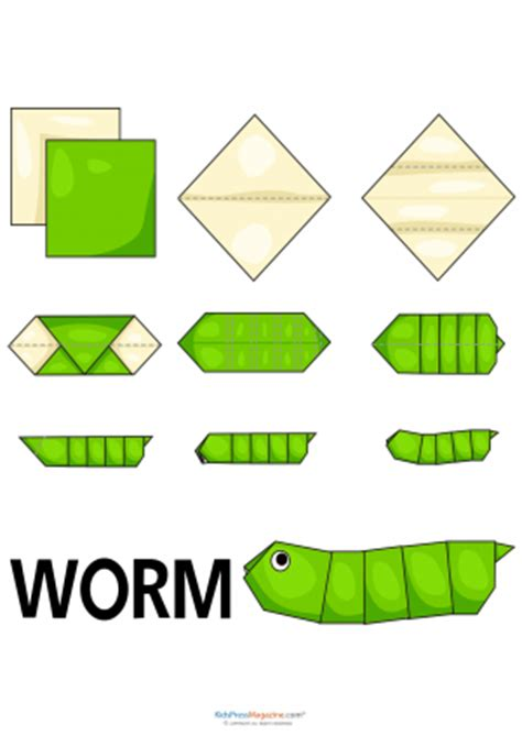 How To Make A Paper Worm - animals origami archives kidspressmagazine