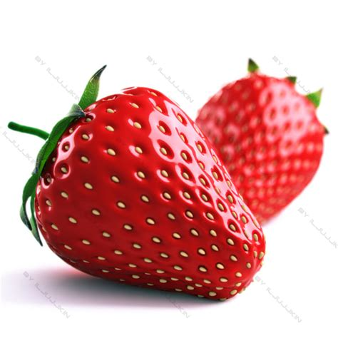 3d 3 Strawberry realistic strawberry 3d model