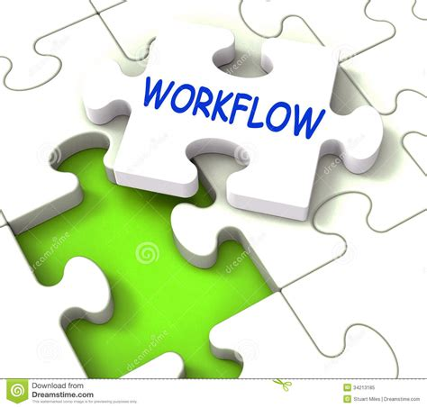 workflow picture workflow puzzle shows structure process flow royalty free
