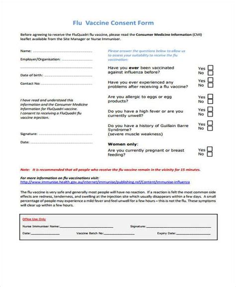 vaccine consent form template 7 sle vaccine consent forms free documents in word pdf