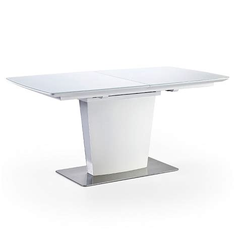 Glass White Dining Table Perry Extendable Dining Table In Matt White With Glass Top