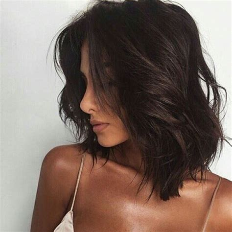 brunette lob hairstyles dark hair brunette bob lob long bob messy waves