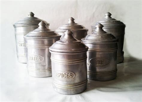set of dimpled french aluminum vintage kitchen canisters from yesterdaysfrance on ruby lane set of 6 vintage french white metal aluminium kitchen