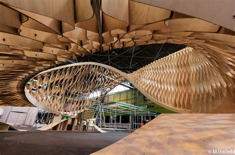 timber architecture emtech twists plywood at the timber expo in birmingham