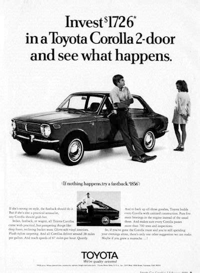 vintage toyota ad 1970 toyota corolla classic vintage print ad