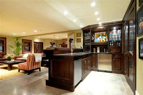 pub room themed basement bar designs