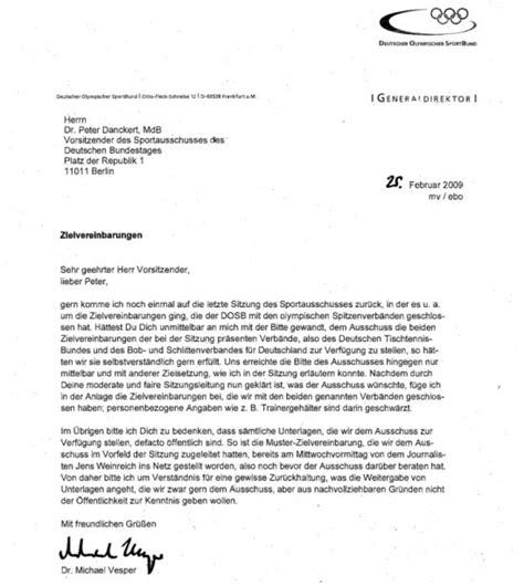 Brief Anfrage Sponsoring Der Neue Sportausschuss Sport Politics