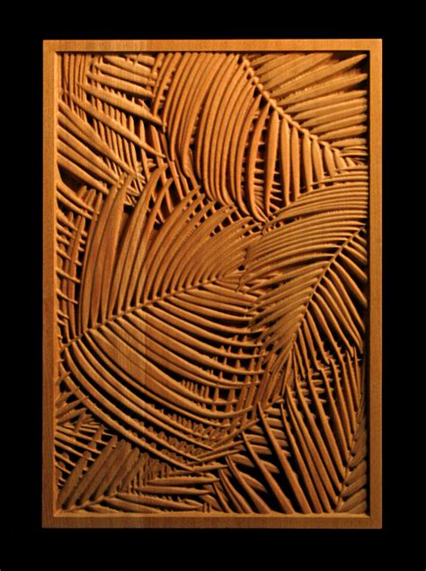 Bookcase Fireplace Palm Frond Carved Wood Panel