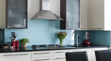 designer kitchen splashbacks light blue single colour splashback totally glass