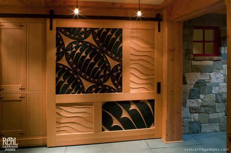 Sliding Barn Door With Art Carvings Craftsman Hall Interior Carriage Doors