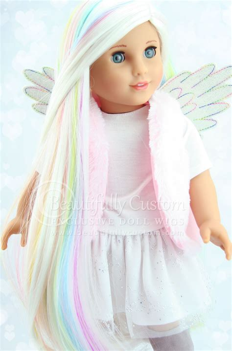 explore luxury wigs unicorn pastel white rainbow highlights luxury doll wig