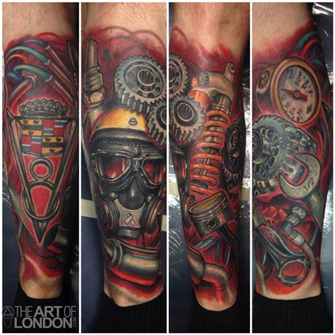 gear head tattoos designs automotive gear car engine parts by reese