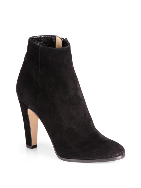 suede black boots lyst jimmy choo monday suede ankle boots in black