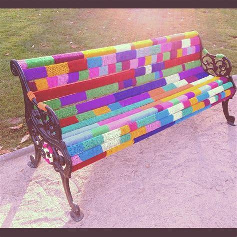 park bench covers yarn bombing graffiti with grandma sweaters salt lick