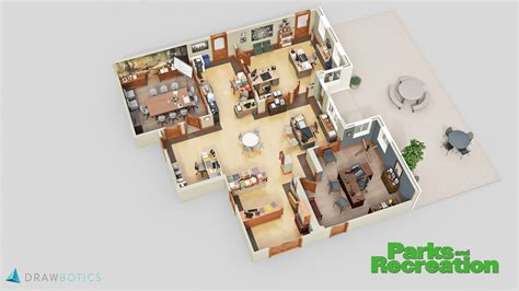 layout of the office famous tv shows brought to life with 3d plans drawbotics