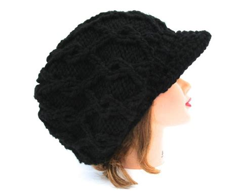 Black Newsboy Hat Cable Knit Cap S Slouchy Hat