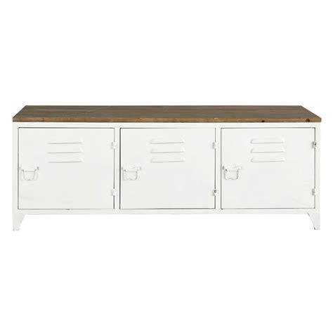 Exceptionnel Meuble Tv Metal Et Bois #2: meuble-tv-en-metal-blanc-l-118-cm-bruce-1000-6-36-155590_2.jpg