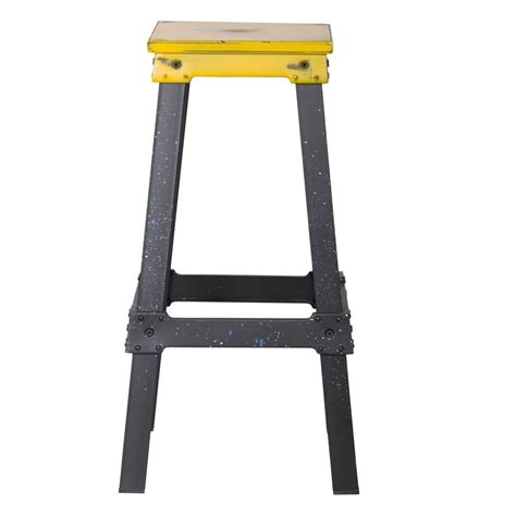 Industrial Metal Bar Stool Yellow Industrial Metal Bar Stool Ch0277 2