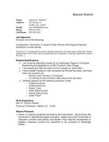 resume outline templates resume outline resume cv exle template