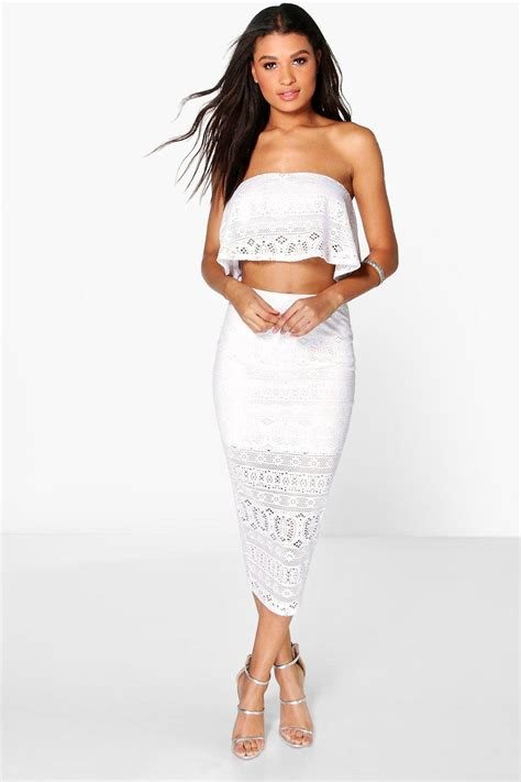 Set Topskirt Jj494 boohoo womens edna crochet top midi skirt co ord set ebay