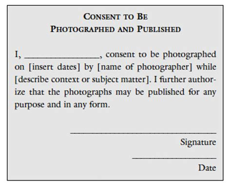 consent to photograph template the of permission in photography educational