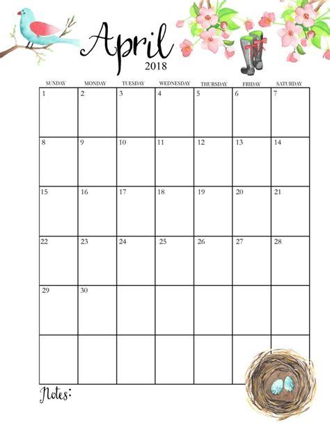 april 2018 monthly blank printable calendar april 2018 calendar