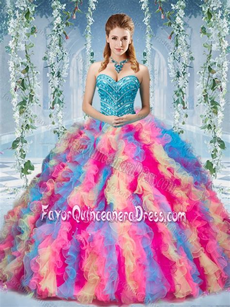 rainbow colored dresses gorgeous rainbow colored big quinceanera dress with