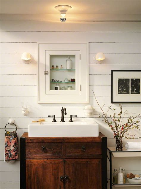 Farmhouse Style Bathroom Vanity Farmhouse Bathroom White Sink Inset In Antique Dresser Beautiful Slat Wall With Inset Medicine