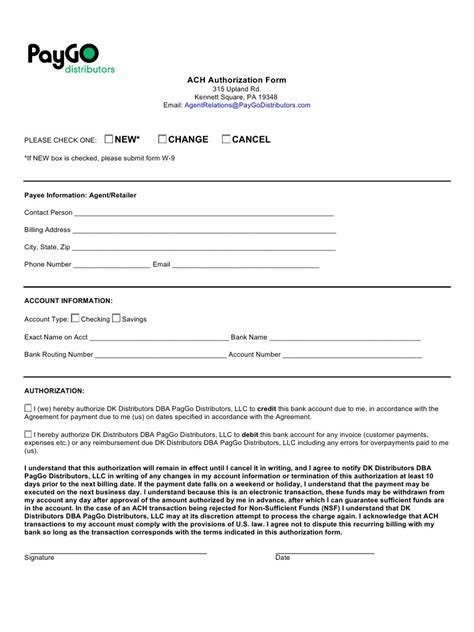 ach form template ach authorization form template