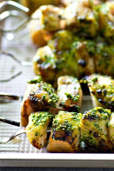chipotle pesto grilled chicken skewers easy peasy meals