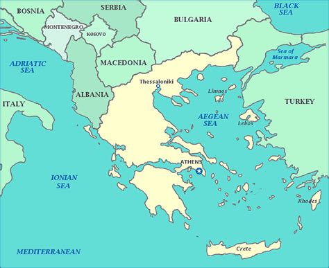 map of europe seas map of greece