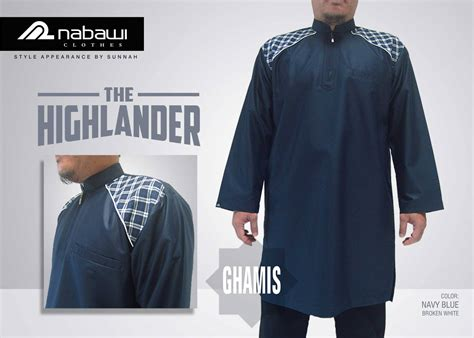 Jubah Nabawi Ghamis The Highlander Series Navy Blue Nabawi Clothes