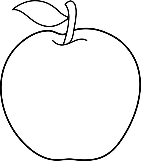 Apple Outline Png by Colorable Apple Line Free Clip