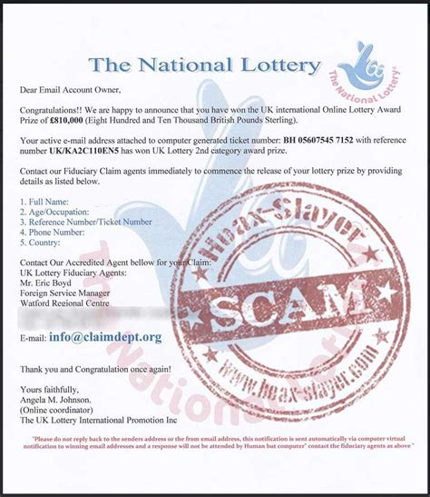 fake national lottery winning notification emails