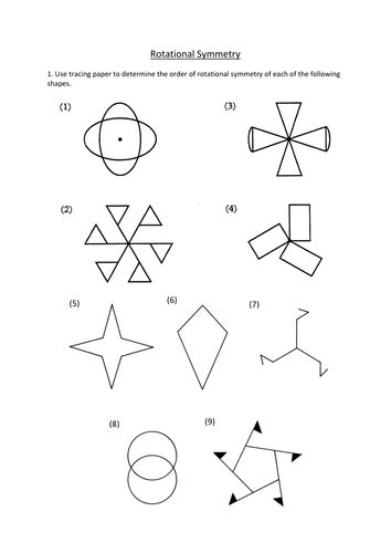 Rotational Symmetry Worksheets by Rotational Symmetry Worksheet By Dannytheref Teaching