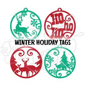 christmas ornament tags svg dxf instant digital download file