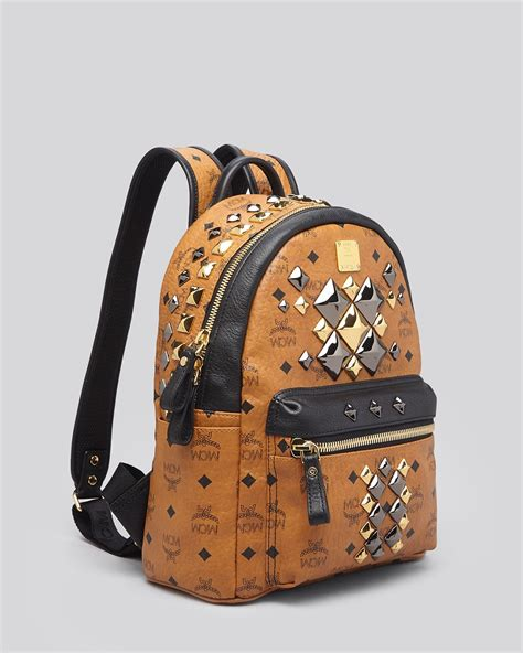 Studded Colour Block Backpack lyst mcm backpack small stark brock colorblock studded