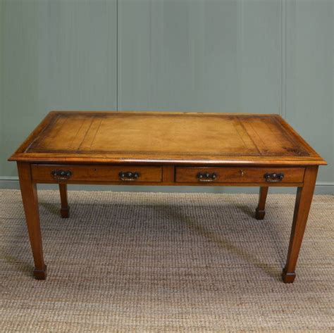 Large Table Desk by Large Edwardian Mellow Mahogany Antique Writing Table Desk