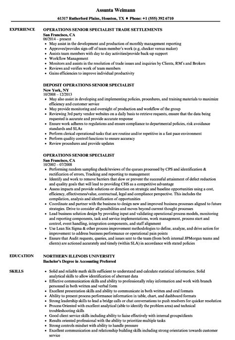 Specialist Resume by Operations Senior Specialist Resume Sles Velvet