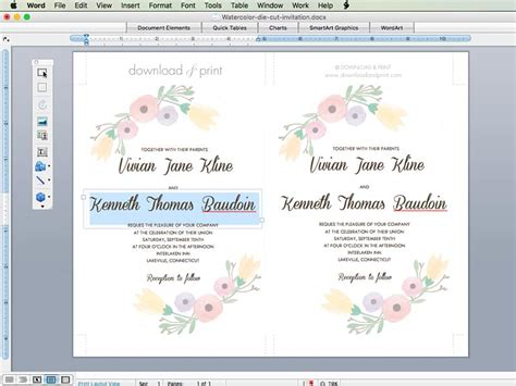 Free Wedding Invitation Template With Watercolor Flowers Wedding Invite Directions Template