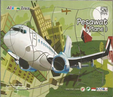Puzzle Kayu Bentuk Pesawat puzzle stiker pesawat 17x20 mainan kayu