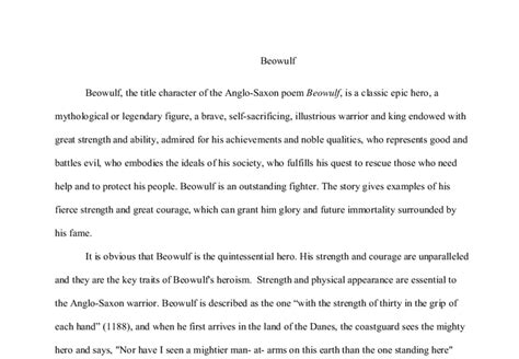 Beowulf Essay Epic by Beowulf The Title Character Of The Anglo Saxon Poem Beowulf Is A Classic Epic A