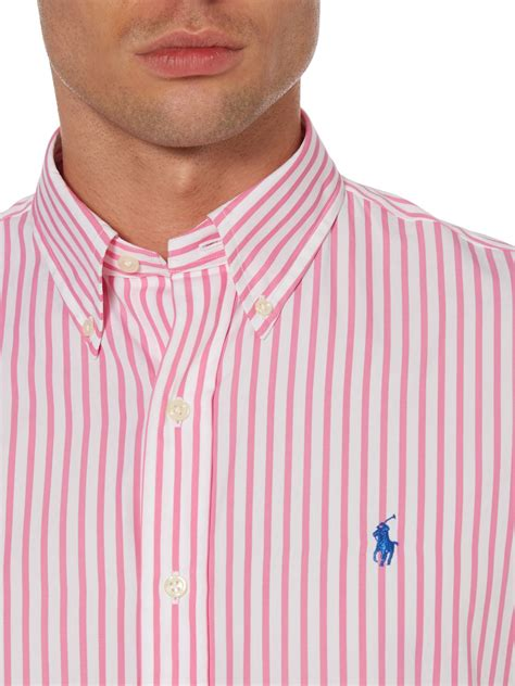 Blouse Qorry Polo Pink lyst polo ralph bengal stripe custom fit shirt in pink for